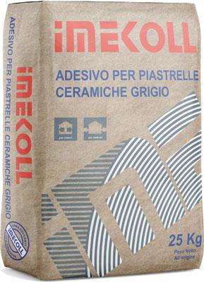IMEKOLL adesivo per piastrelle ceramiche Grigio prodotto da ime distribuito da cime srl COMMERCIO INDUSTRIA MATERIALI EDILI napoli e provincia ed in italia